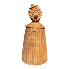 Mid-Century Wicker Rattan Clown Basket Clothes Hamper or Planter, circa 1950s