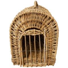 Mid-century Wicker Transport Basket Cat or Dog France