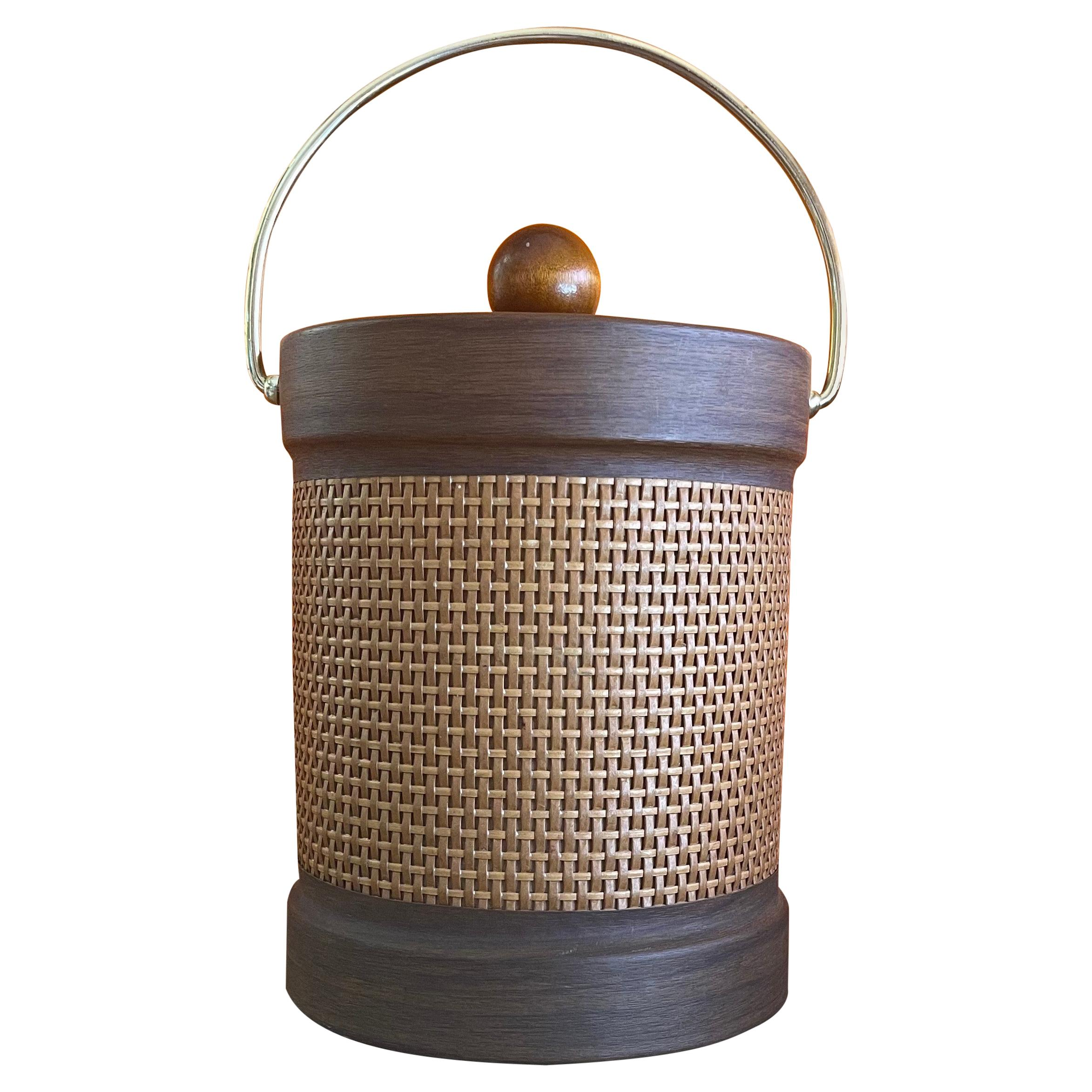 Mid-Century Wicker Wrapped Ice Bucket by Georges Briard