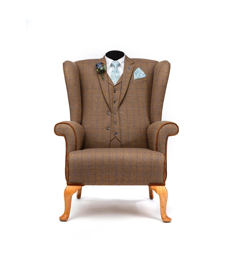 Unique Armchairs: Midcentury Wing Back Armchair 'the Saville Row' Bespoke