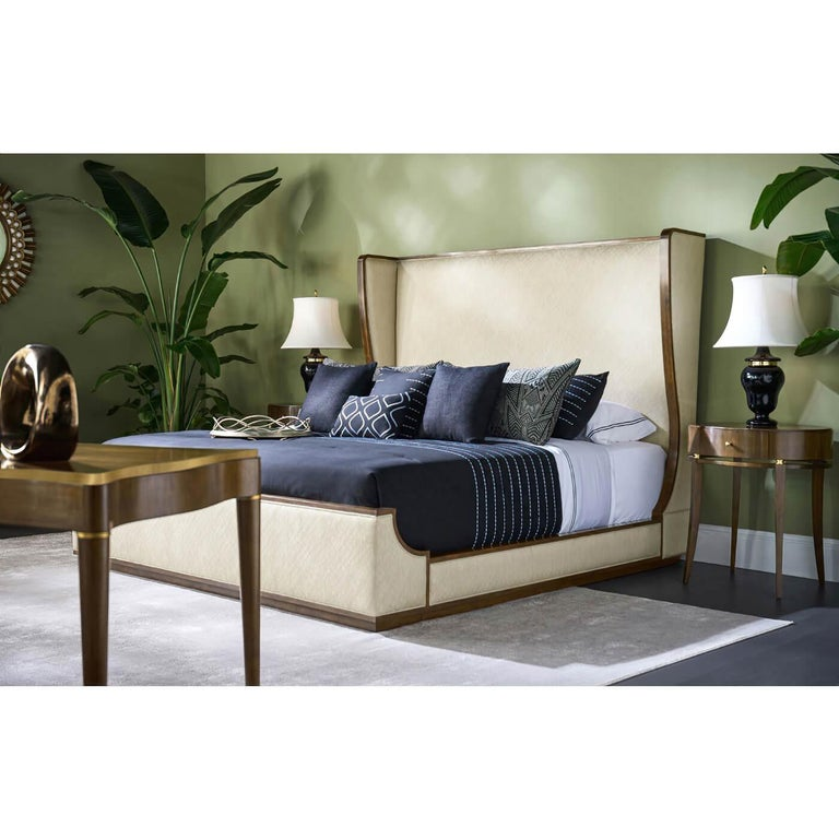 Wood Midcentury Style Winged King Size Bed For Sale