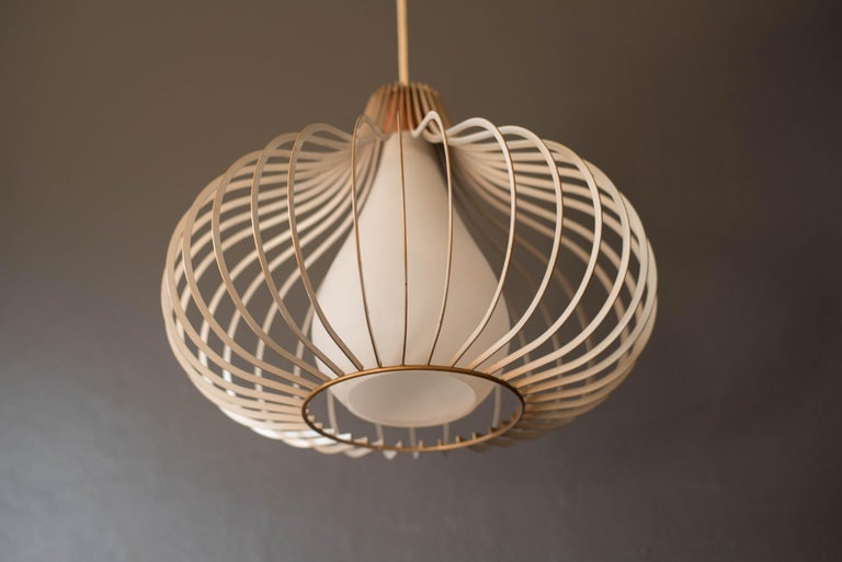 Mid-Century Modern Mid Century Wire and Glass Pendant Lamp For Sale