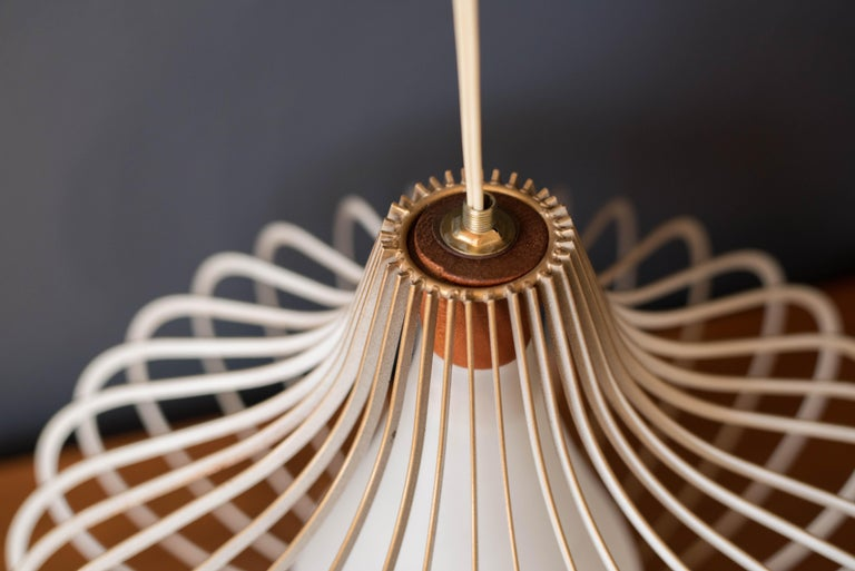 Mid-20th Century Mid Century Wire and Glass Pendant Lamp For Sale