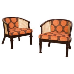 Midcentury Wood and Cane Barrel Chairs