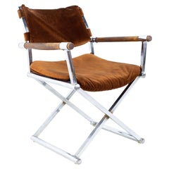 Mid Century Wood and Chrome Directors Chair