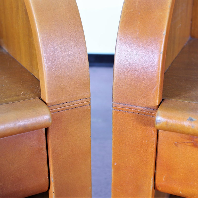Midcentury Wood and Leather Poltrona Frau Nightstands, Set of 2, Italy, 1960s For Sale 6