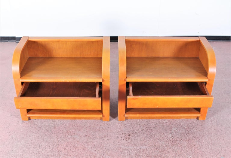 Midcentury Wood and Leather Poltrona Frau Nightstands, Set of 2, Italy, 1960s For Sale 7