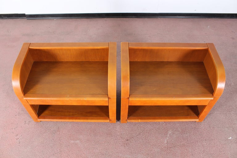 Midcentury Wood and Leather Poltrona Frau Nightstands, Set of 2, Italy, 1960s For Sale 10