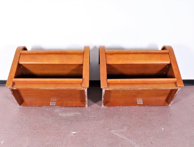 Midcentury Wood and Leather Poltrona Frau Nightstands, Set of 2, Italy, 1960s For Sale 11