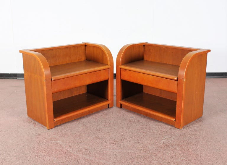 Italian Midcentury Wood and Leather Poltrona Frau Nightstands, Set of 2, Italy, 1960s For Sale
