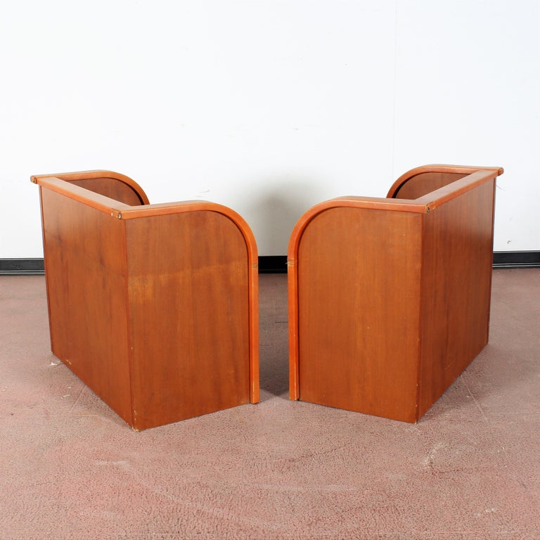 Mid-20th Century Midcentury Wood and Leather Poltrona Frau Nightstands, Set of 2, Italy, 1960s For Sale