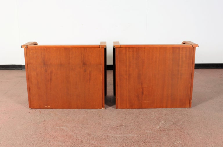 Midcentury Wood and Leather Poltrona Frau Nightstands, Set of 2, Italy, 1960s For Sale 1