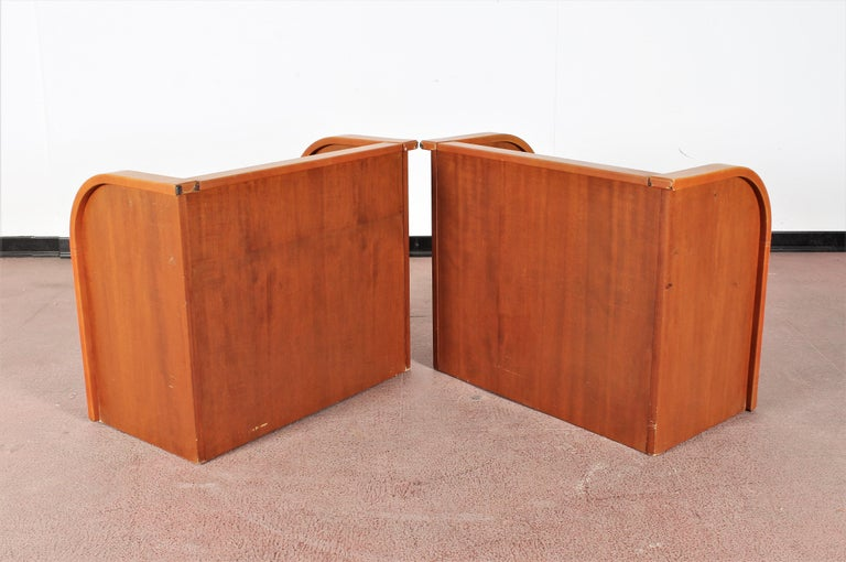 Midcentury Wood and Leather Poltrona Frau Nightstands, Set of 2, Italy, 1960s For Sale 2