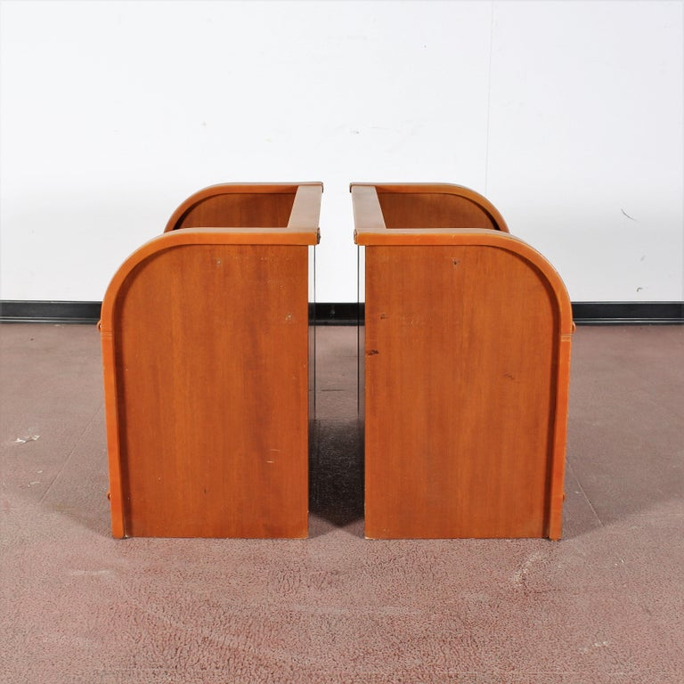 Midcentury Wood and Leather Poltrona Frau Nightstands, Set of 2, Italy, 1960s For Sale 3