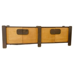 Mid-Century Wood and Leather Sideboard, Belgium, 1970s