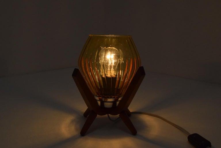 Czech Midcentury Wood Bedside Table Lamp, 1960s
