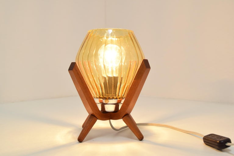 Midcentury Wood Bedside Table Lamp, 1960s In Good Condition In Praha, CZ