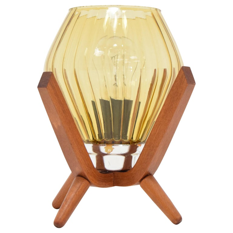 Midcentury Wood Bedside Table Lamp, 1960s