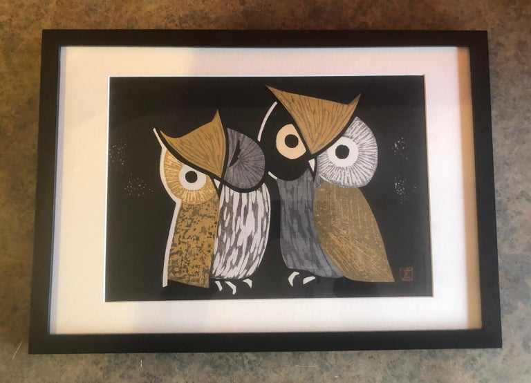 Mid-century wood block print of two owls known as