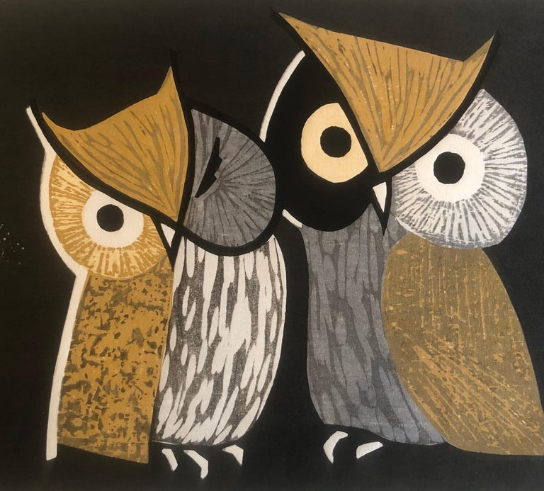 19th Century Mid-Century Wood Block Owl Print
