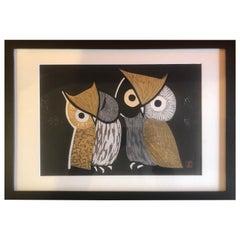 "Mid-Century Wood Block Owl Print ""Three Eyes"" by Kaoru Kawano"