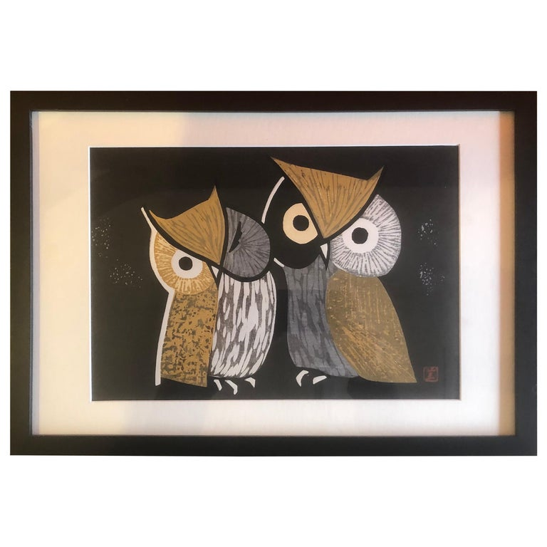 "Mid-Century Wood Block Owl Print ""Three Eyes"" by Kaoru Kawano For Sale"