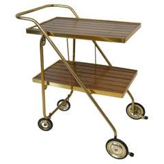 Mid Century Wood / Brass Folding Bar Cart Trolley