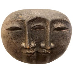 Midcentury Wood Carved Faces Wall Sculpture