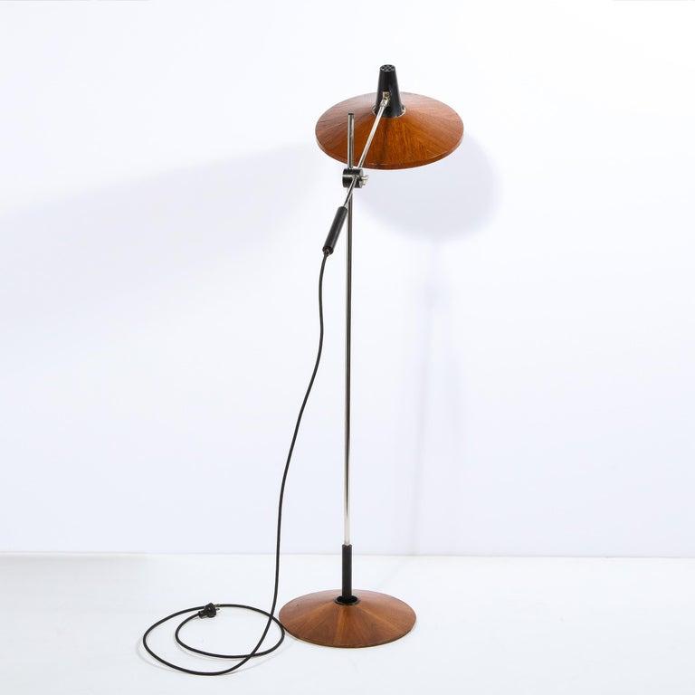 Mid Century Wood & Chrome Floor Lamp by Georges Frydman for Temde Leuchten For Sale 4