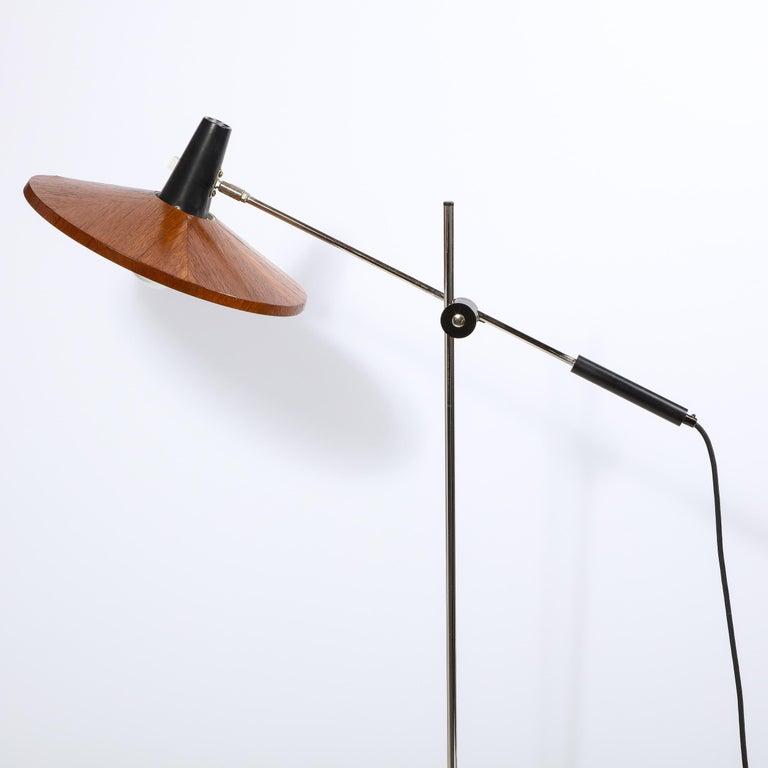 Mid Century Wood & Chrome Floor Lamp by Georges Frydman for Temde Leuchten For Sale 6