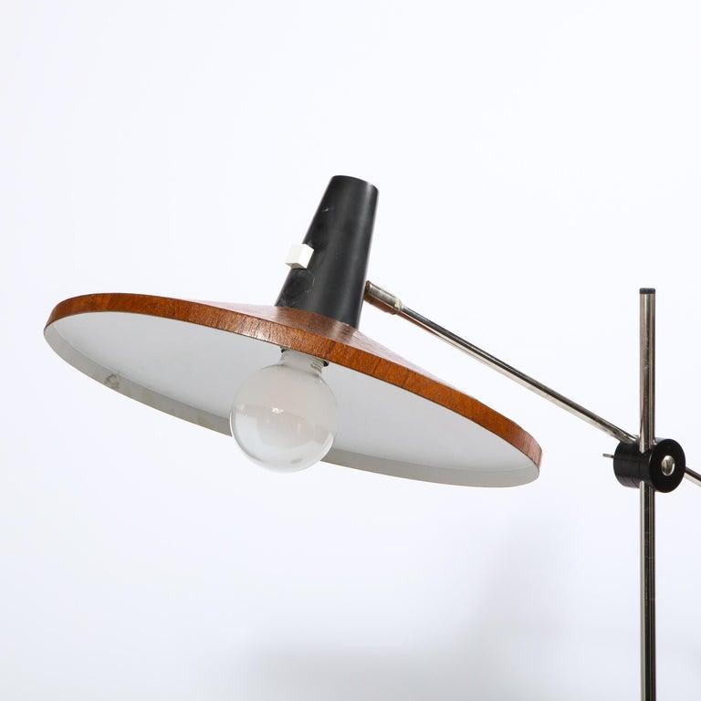 Mid Century Wood & Chrome Floor Lamp by Georges Frydman for Temde Leuchten For Sale 8