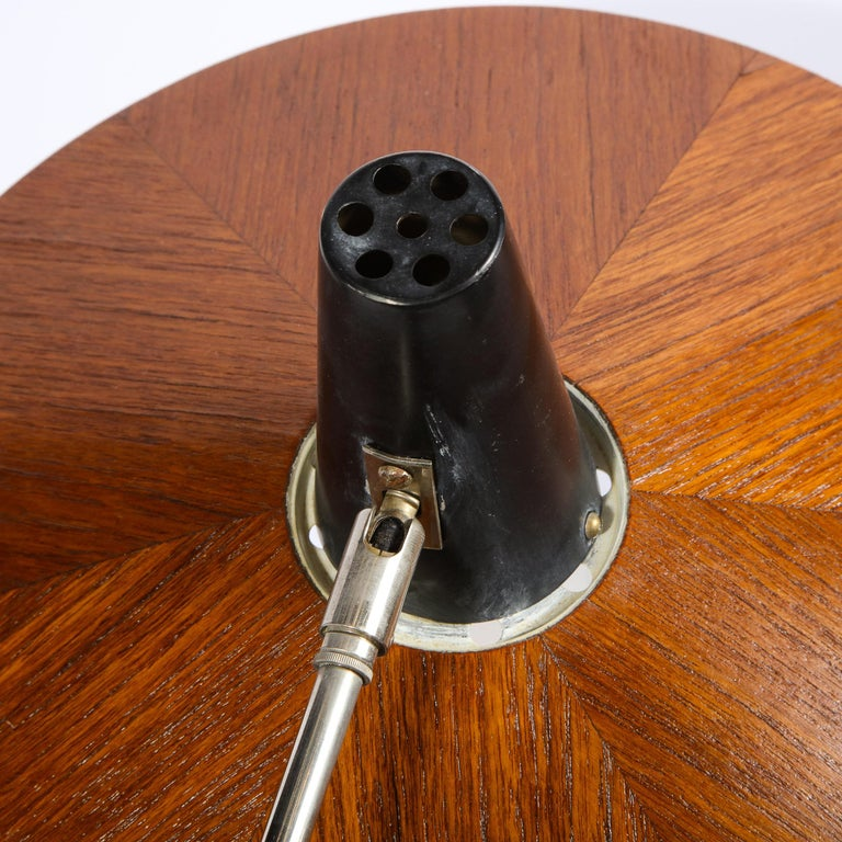 Mid Century Wood & Chrome Floor Lamp by Georges Frydman for Temde Leuchten For Sale 11