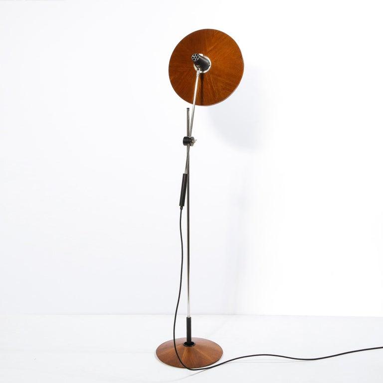 Mid Century Wood & Chrome Floor Lamp by Georges Frydman for Temde Leuchten For Sale 12