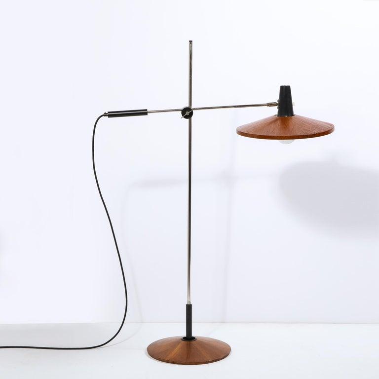 Mid Century Wood & Chrome Floor Lamp by Georges Frydman for Temde Leuchten For Sale 13