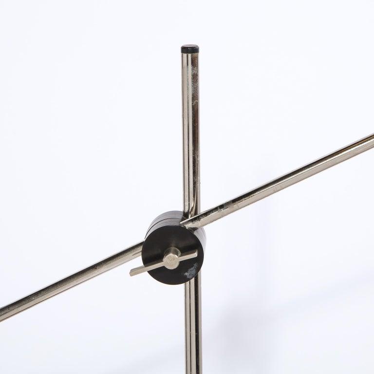 Swiss Mid Century Wood & Chrome Floor Lamp by Georges Frydman for Temde Leuchten For Sale