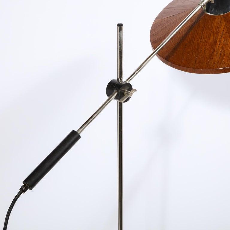 Mid Century Wood & Chrome Floor Lamp by Georges Frydman for Temde Leuchten For Sale 2