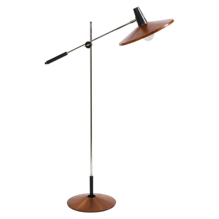 Mid Century Wood & Chrome Floor Lamp by Georges Frydman for Temde Leuchten For Sale