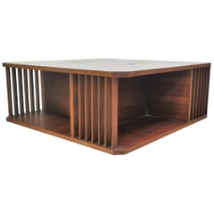 Mid-Century Wood Cocktail Table with Bar Compartment Andre Sornay Style, 1960s