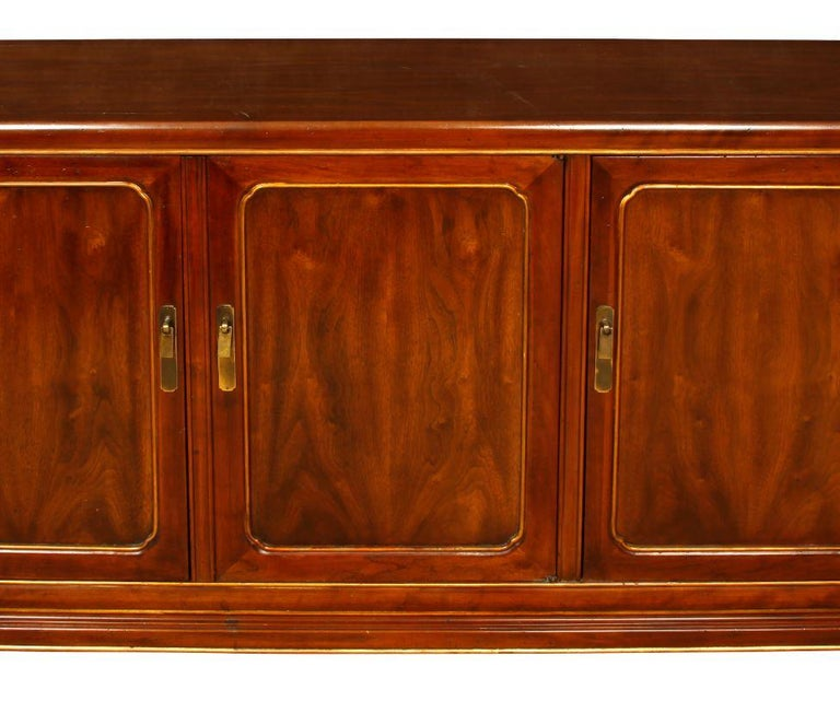 Mid-Century Modern Mid-Century Wood Credenza with Gilt Detail For Sale