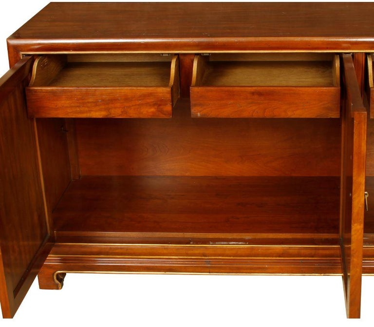 American Mid-Century Wood Credenza with Gilt Detail For Sale
