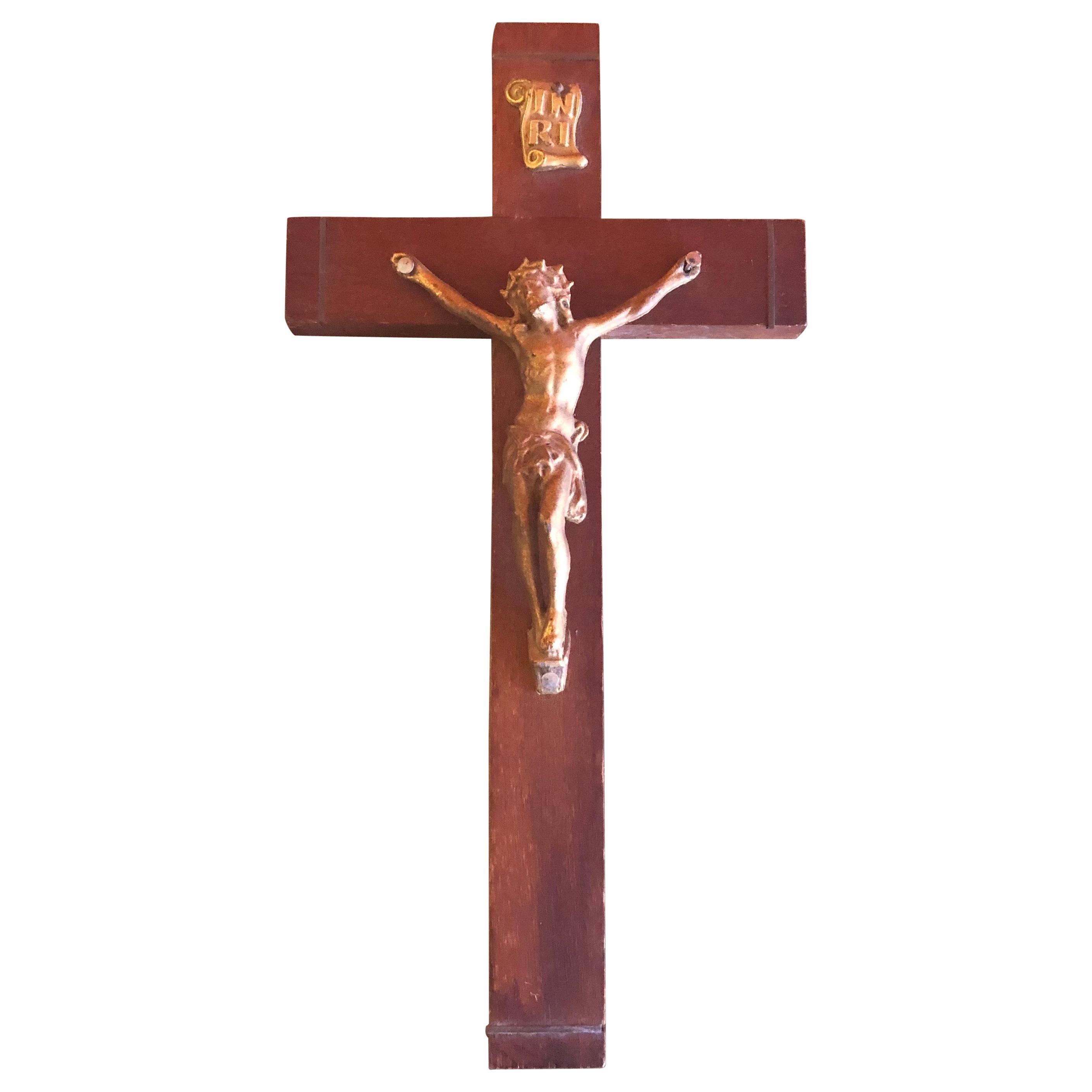 Midcentury Wood Crucifix