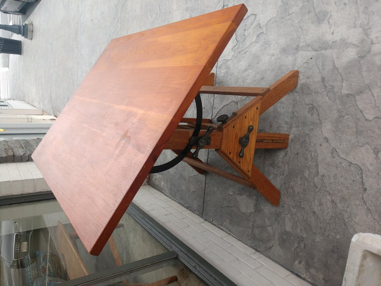 Mid Century Wood & Iron Hamilton Drafting Table C1955 In Good Condition In Port Jervis, NY