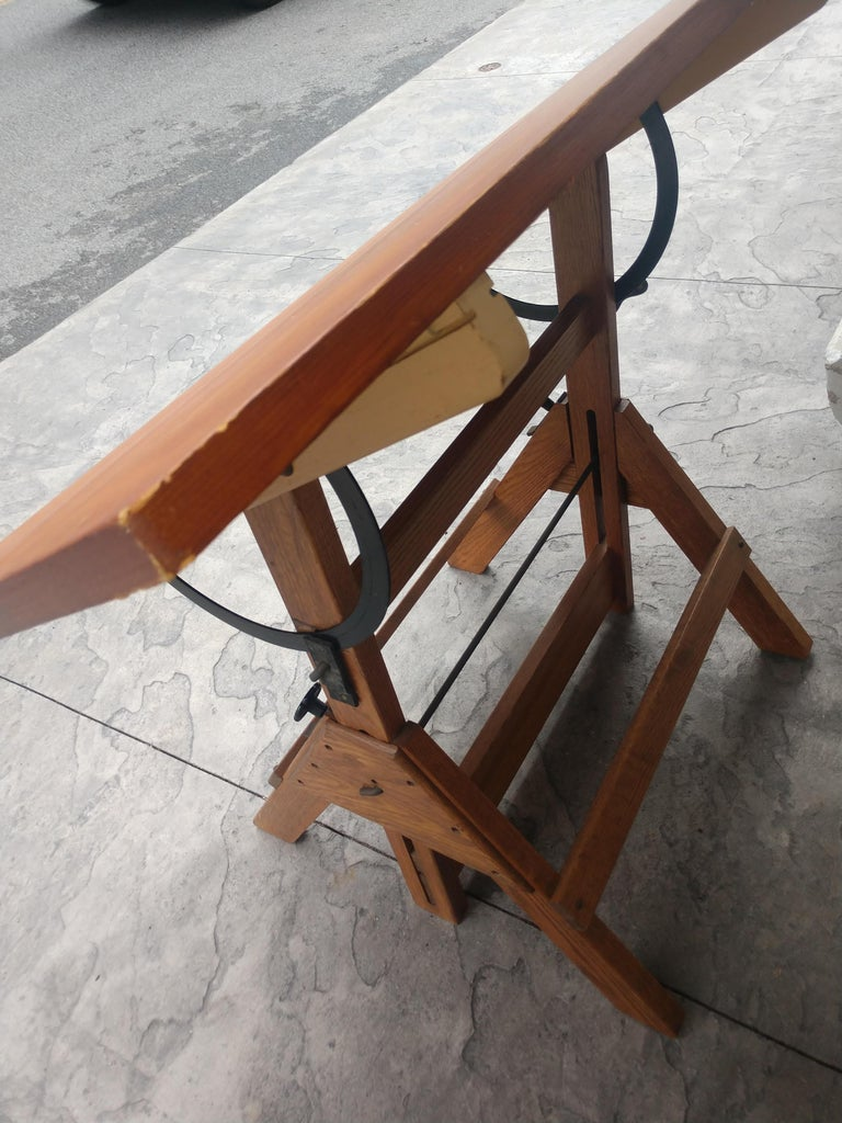 Mid-20th Century Mid Century Wood & Iron Hamilton Drafting Table C1955
