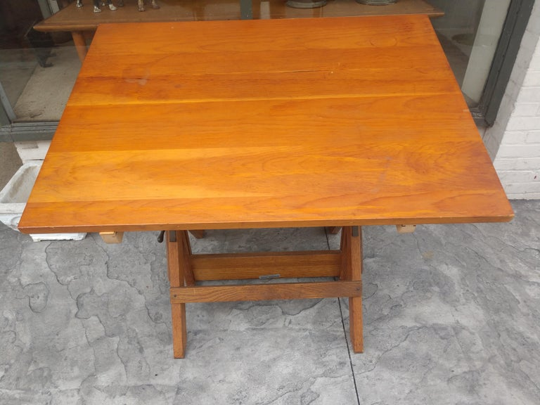 Mid Century Wood & Iron Hamilton Drafting Table C1955 3