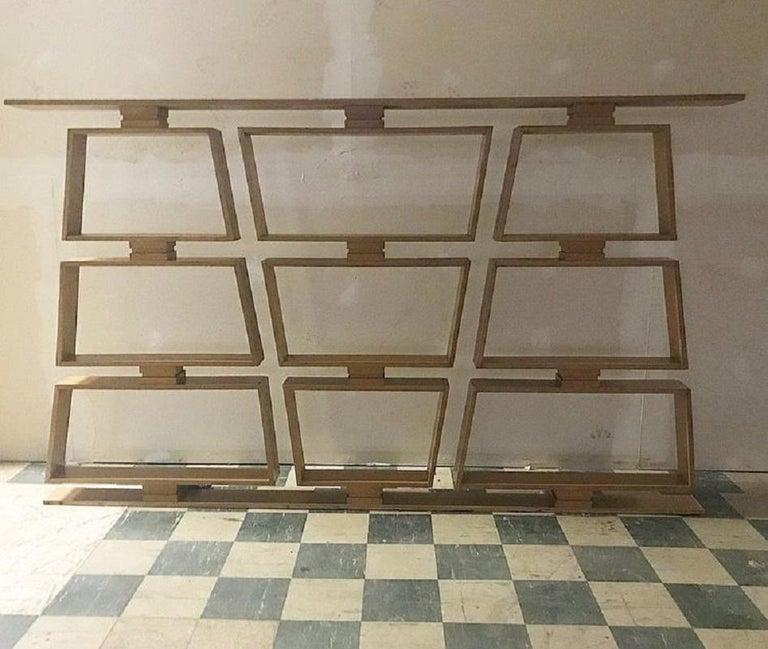 Midcentury wood room divider/shelves. Made of white oak.