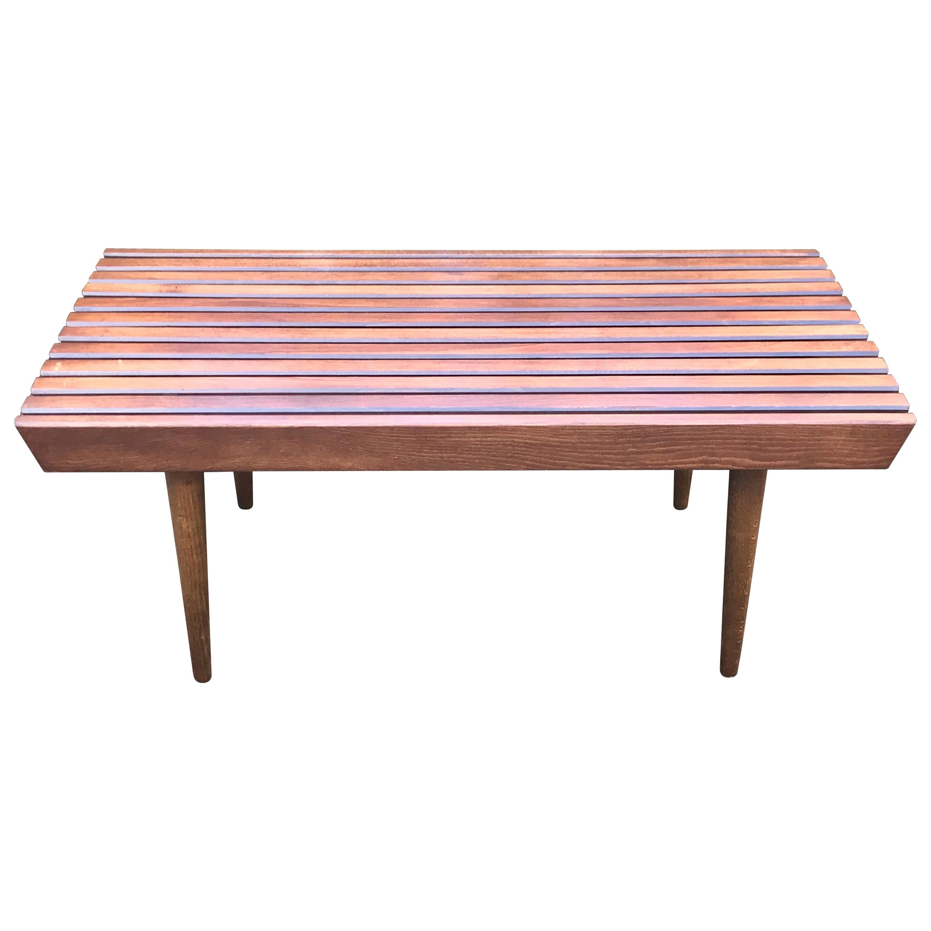 Mid Century Wood Slat Bench in the Style of George Nelson, 1960s