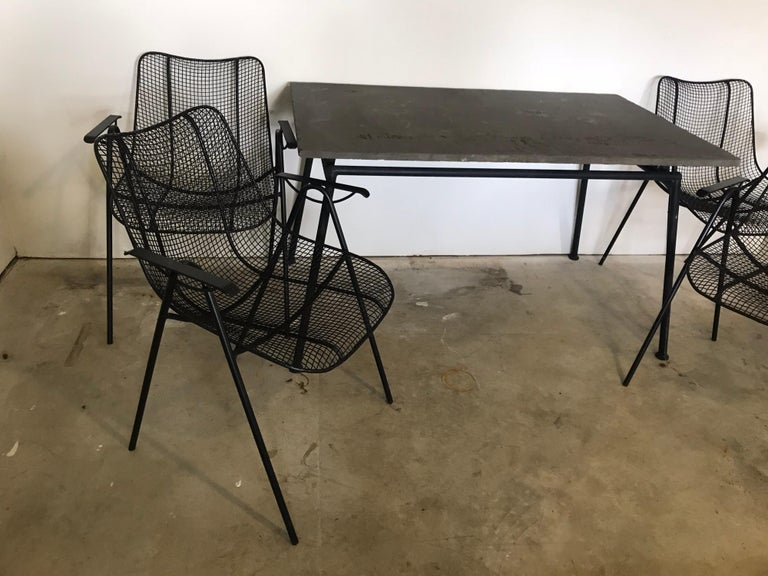 Mid-Century Modern Midcentury Woodard Slate Top Patio Table with Four Wrought Iron Chairs, 1950s For Sale