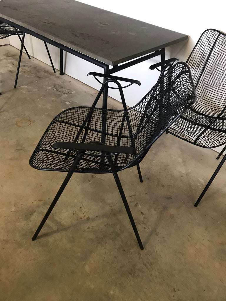 American Midcentury Woodard Slate Top Patio Table with Four Wrought Iron Chairs, 1950s For Sale