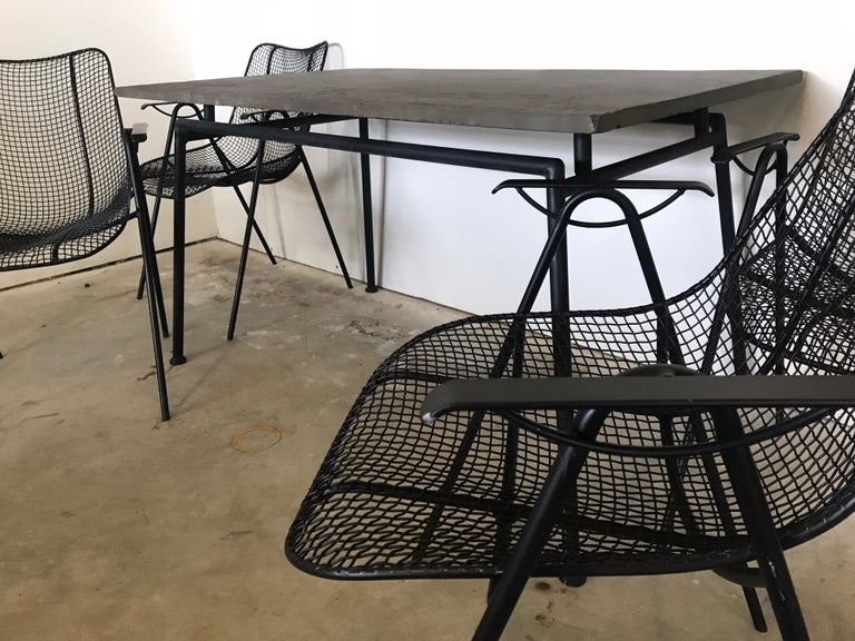 Mid-20th Century Midcentury Woodard Slate Top Patio Table with Four Wrought Iron Chairs, 1950s For Sale