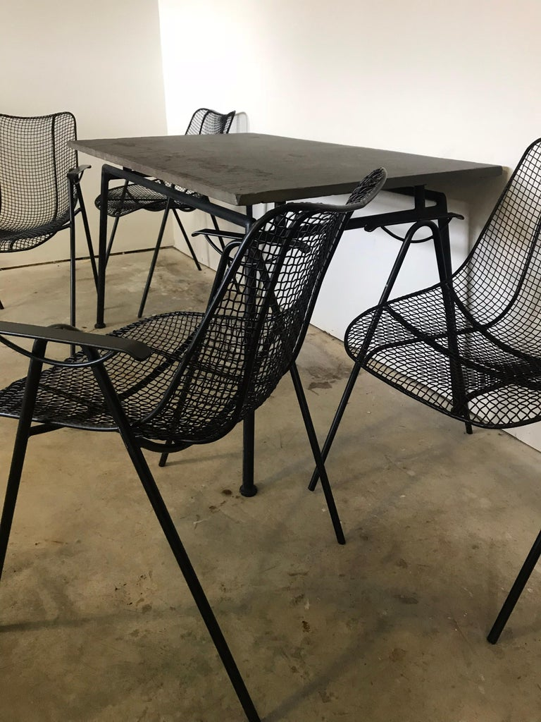 Midcentury Woodard Slate Top Patio Table with Four Wrought Iron Chairs, 1950s For Sale 1